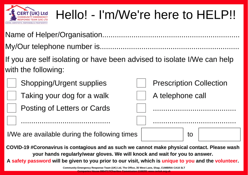 Help and Support Card