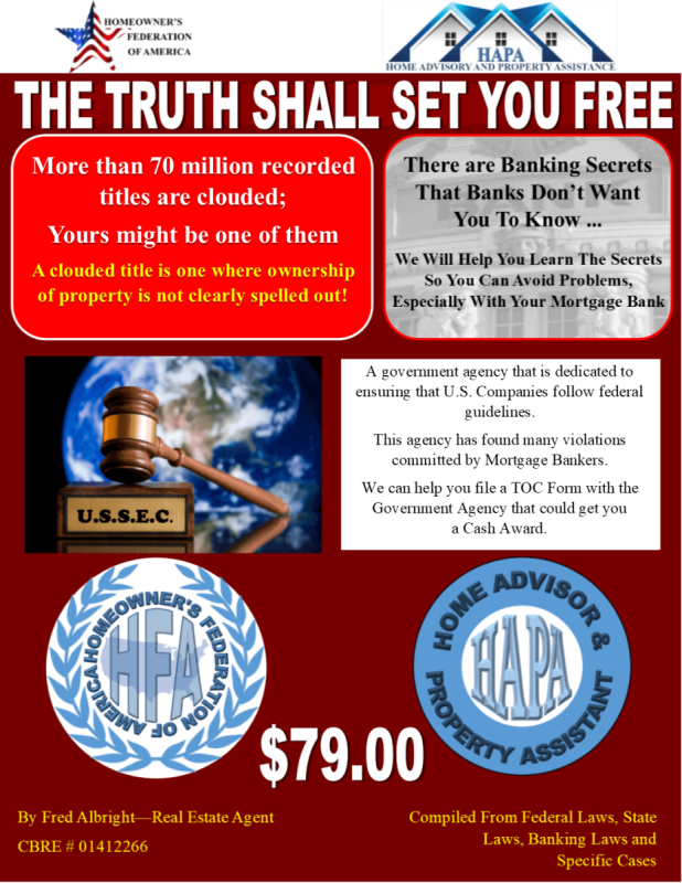 THE TRUTH BOOK  free with donations of twenty-five ($25.00) or more.