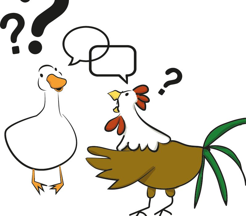 Chicken talks to Duck- talking without communicating
