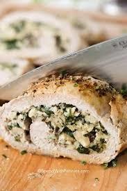 Spinach and cheese pork loin